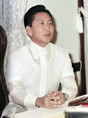 President Marcos wearing Piña Barong with collar